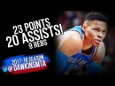 Russell Westbrook Full Highlights 2018 01 20 at Cavs 23 Pts 20 Assists 9 Rebs BEAST Mode