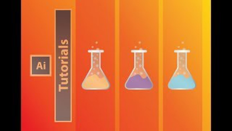 How to create laboratory glass bottle(test tube) icon with bubbles/ Lab flat Icon design tutorial