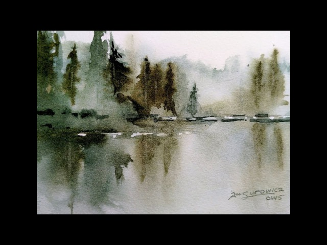 Loose Transparent Watercolor Painting Demonstration Misty Lake