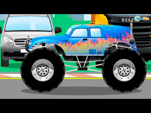 Мультфильм про машинки для детей Монстр трак гоночная машинка полицейская машинка в городке Сборник