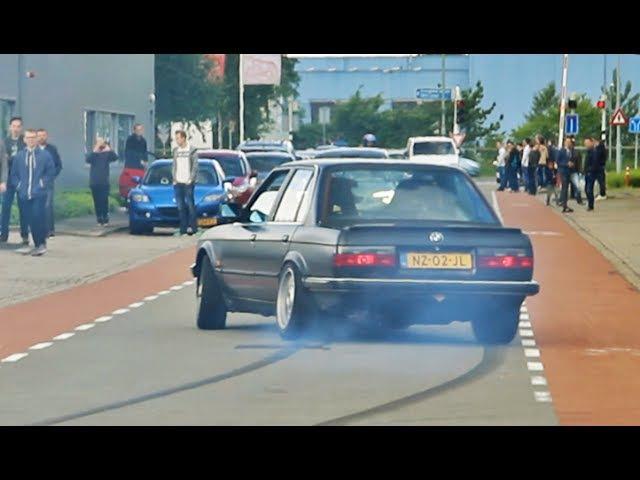Crazy BMW E30 V8 going sideways at a car meet
