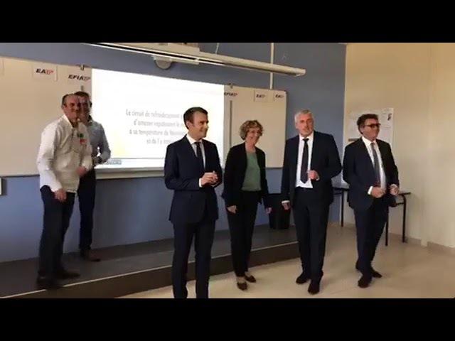 Emmanuel Macron est à l'École d'Application aux Métiers des Travaux Publics 4.10.2017