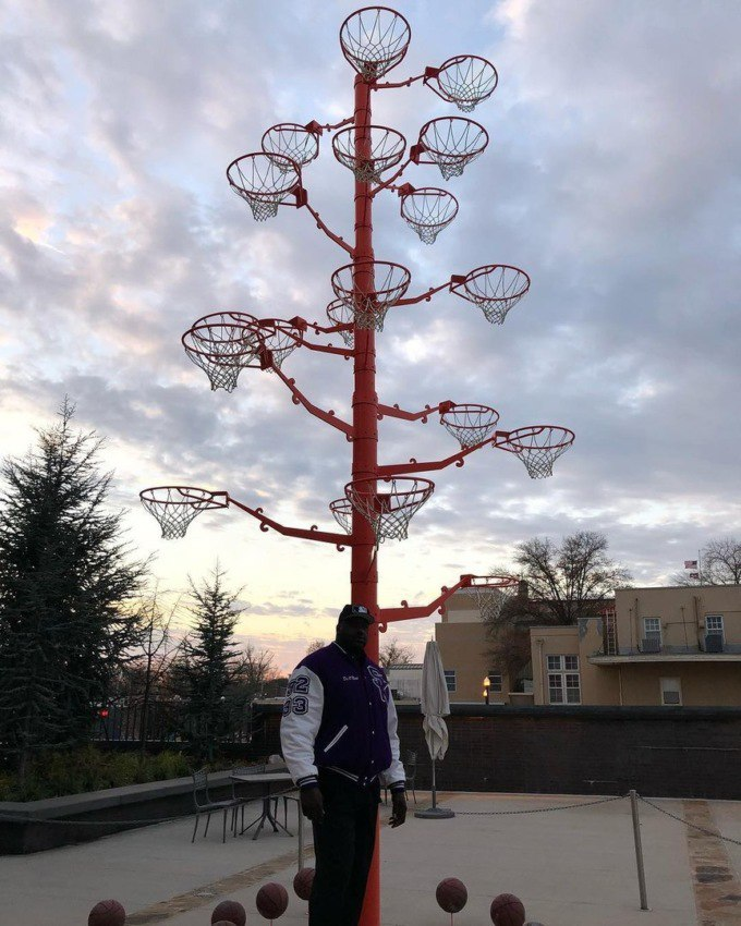"""Шакли О'Нил продемонстрировал """"выращенное"""" им дерево из оторванных баскетбольных колец"""