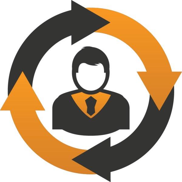 рецикл иконка стрелочки по кругу в центре человечек в галстуке коричнывый и оранжевый цвета