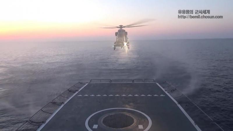 Первые полеты корейских палубных вертушек.
