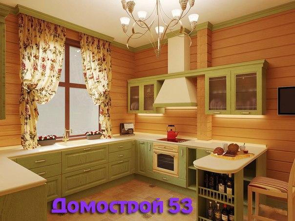 Маленькая кухня в доме из бруса интерьер фото