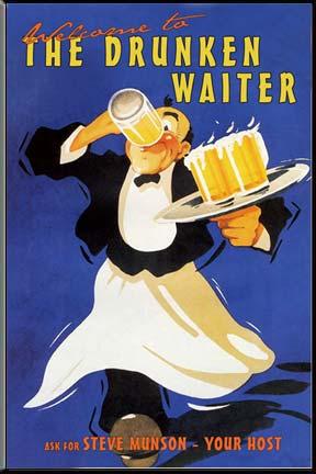 пьяный официант несёт пиво на заказ на подносе и пьёт его на ходу в белом фартуке картинка плакат ретро