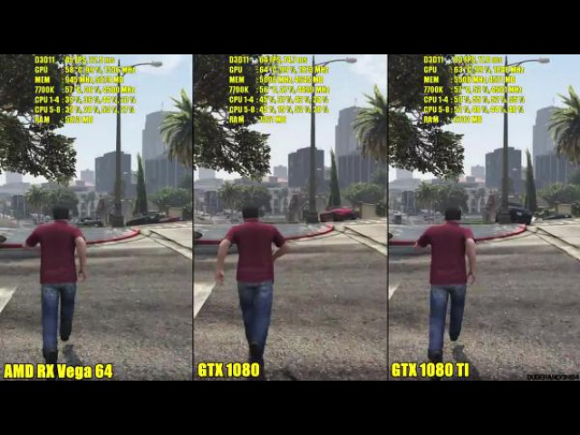 GTA 5 - AMD RX Vega 64 Vs GTX 1080 Vs GTX 1080 TI