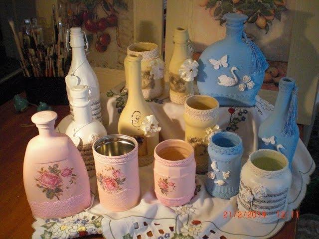 DIY - Flaschen Upcycling Deko in Shabby oder Vintage