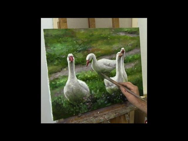 Гуси. Живопись маслом. White geese.Oil painting. Buiko Oleg