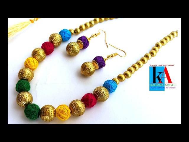 D.i.y making of designer addon silk thread necklace at home tutorial