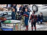 Chris Evans, Paul Rudd, Mark Ruffalo and Robert Downey Jr. on the set Avengers 4
