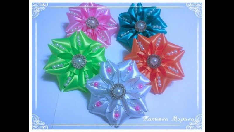 МК Ярких круглых бантиков с жемчужными бусинами/Round bows with pearls/Arcos redondos com pérolas