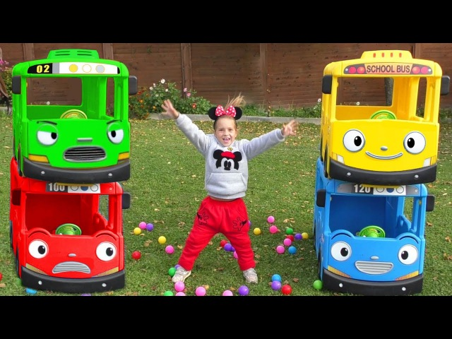 Learn colors with Baby and balls Wheels On The Bus Tayo Little Bus Nursery Rhymes Songs for Children