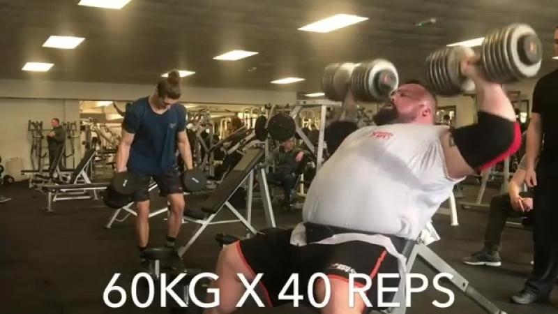 Эд Холл (Англия), жим гантелей сидя по 60 кг на 40 раз💪💪💪