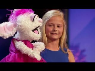 12-летняя девочка-чревовещатель и её кролик на шоу America's Got Talent