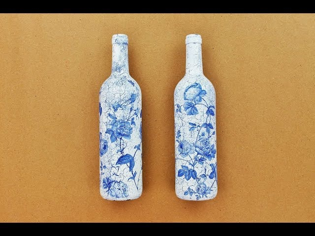 Decoupage bottles with Easy Crackles - Fast Easy Tutorial - DIY