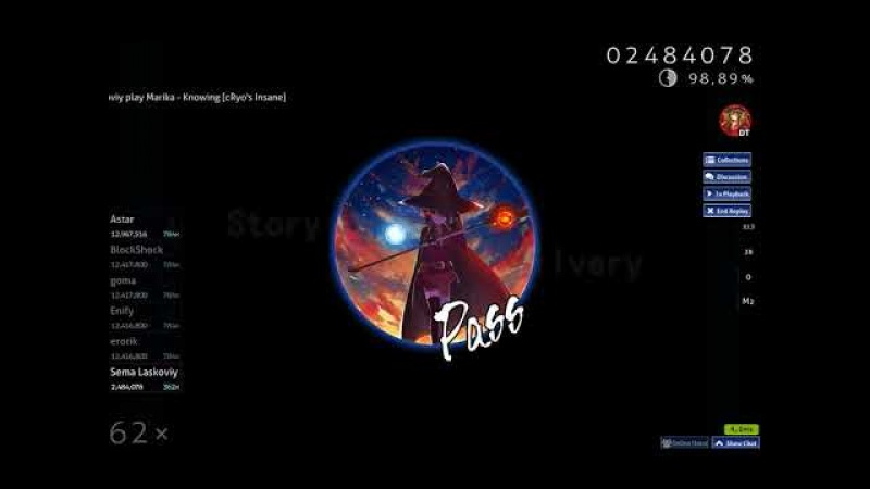Osu! Marika - Knowing [cRyos Insane] DT (98.51) 165 PP