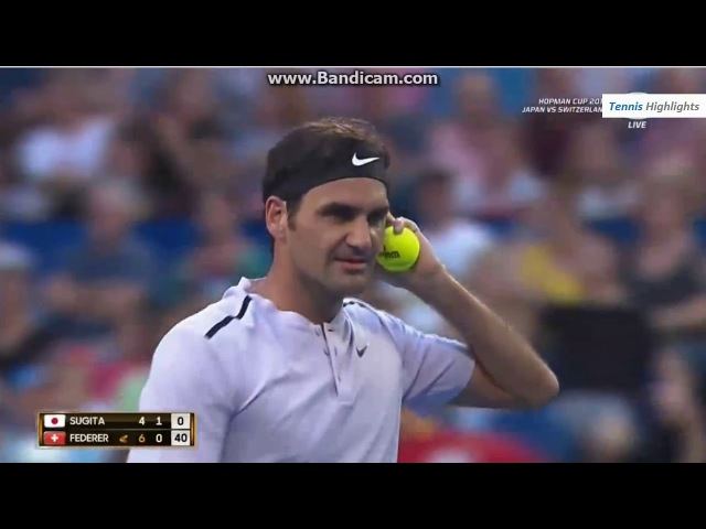 Roger Federer ( SUI ) vs Y. Sugita (JPN) - Hopman Cup 2018 RR Highlights HD