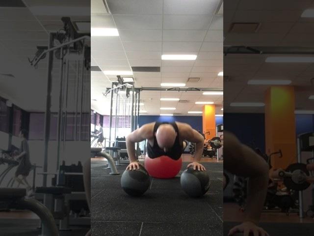 Medicine ball Swiss ball push up