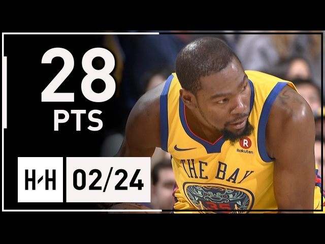 Kevin Durant Full Highlights Warriors vs Thunder (2018.02.24) - 28 Points in 3 Qtrs!