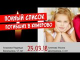 ВЕСЬ СПИСОК ПОГИБШИХ В ПОЖАРЕ КЕМЕРОВО!!!ТРК ЗИМНЯЯ ВИШНЯ!!!