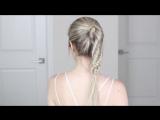 Хвост с красивым плетением на длинные волосы