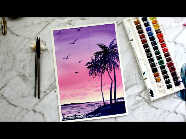 Watercolor Painting 'Pastel Sunset'
