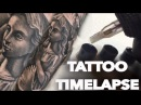 TATTOO TIMELAPSE REAL TIME ANGEL AND DOVES CHRISSY LEE