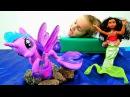 Видео игрушки ЛитлПони ✨ ИСКОРКА спасает Моана и Кира в Море 🌊 Пони Русалки И