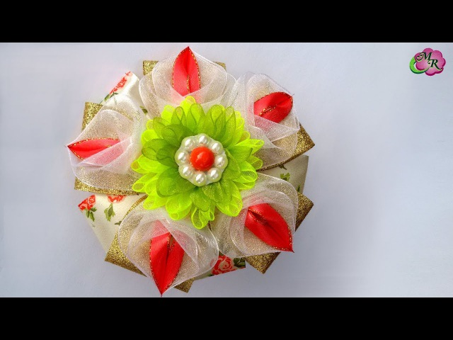 Бант с георгином Канзаши МК Bow with Dahlia DIY Kanzashi