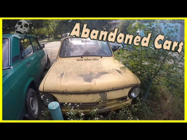 Creepy Abandoned Russian Cars in Yard. Abandoned ZAZ 968M and VAZ (LADA) 2103. Cars of the 1990s
