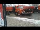 Колонна снегоуброчных автомобилей едет недалко от станции Ростокино, для МКЖД, и в то же время, неподалёку от железнодорожной