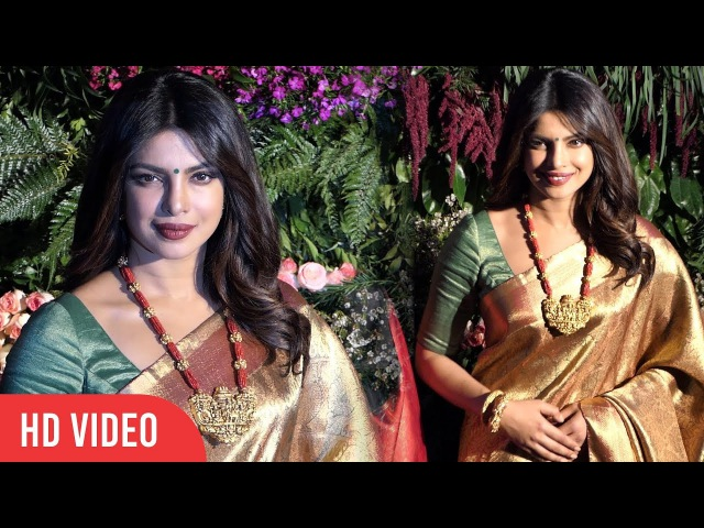 Priyanka Chopra In Saree At Virat And Anushka Wedding Reception | Priyankas Traditional Look