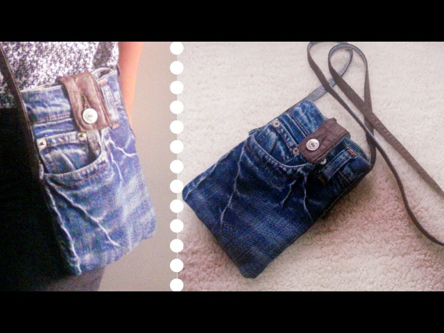 DIY Sling Bag for Phone Out of Old Jeans *Simple Easy * Recycled Craft