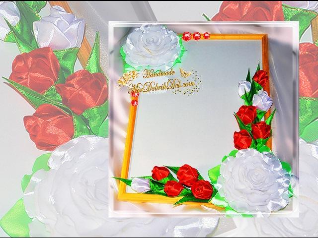 🌷ФОТОРАМКА С ЦВЕТАМИ канзаши подарок на 8 марта или на 23 февраля