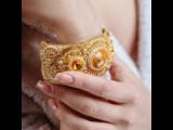 Браслет из бисера с камнем Сваровски жемчугом Золото нации