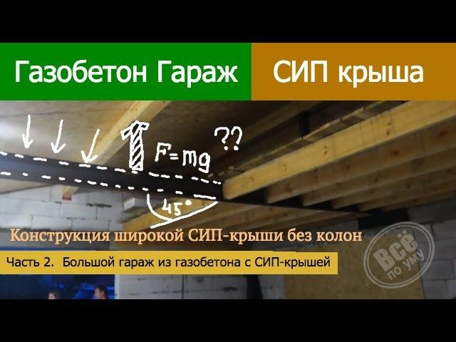 Гараж из газобетона Большая СИП Крыша без колонн Часть 2 Все по уму