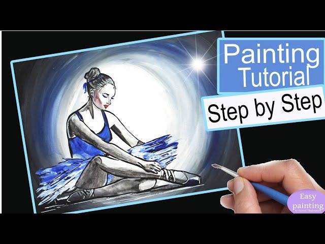 How to paint BALLERINA . Ballet dancer, WOMAN Painting Tutorial Step by Step in Acrylics