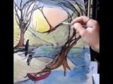 Папа дорисовывает рисунки дочери