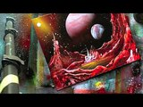 spray paint art secrets june 2014, spray paint waterfalls, planets in red, moons,boats
