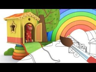Раскраска - Деревяшки - Домик - 1 серия - Учим цвета с Деревяшками - мультики малышам