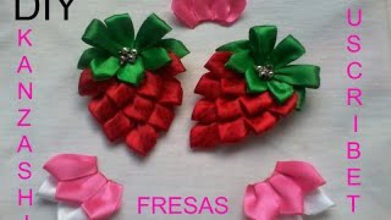 N°.:3 DIY Kanzashi Lindas Fresas Para El Cabello Con Gancho Paso a Paso
