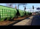 Tavarajuna T2869 lähtee Lahdesta Kouvolaan Freight train T2869 departs Lahti