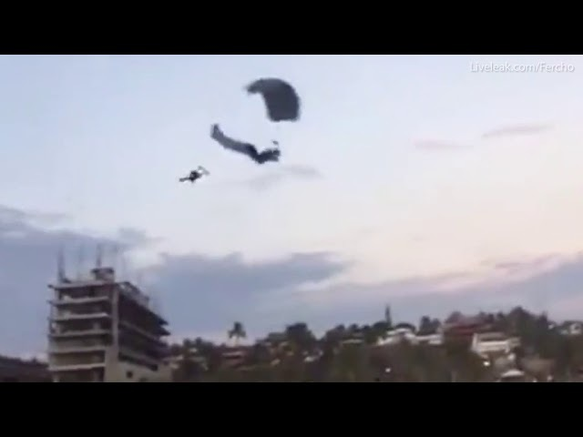 Shocking moment parachuter dies after mid air collision in Mexico