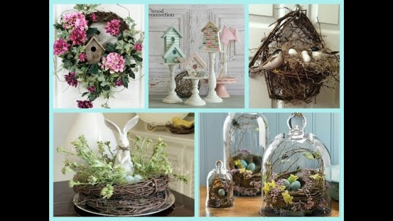 Spring Decor with Nests and Birdhouses - Bird Nest Easter Decor Ideas - Spring Decorating Ideas