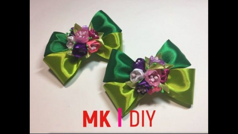 Канзаши резиночка бантик/Цветок из лент/МК/DIY/ Kanzashi/Scrunchy with ribbon/Flower/bow / Новинка