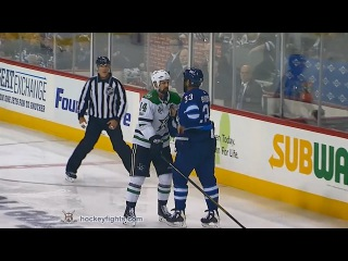 Jamie Benn vs Dustin Byfuglien Nov 2, 2017