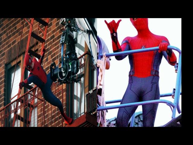 Фото со съёмок человек паук возвращение домой.