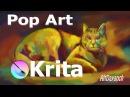 Speed Painting Cat Pop Art x Impressionism в Krita x Photoshop (Digital Art)